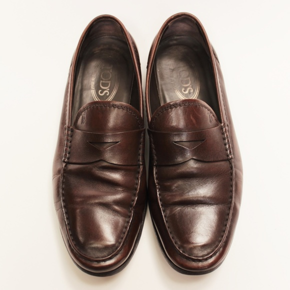 d663631111 Tod's Shoes | Tods Penny Loafers Monogram Logo Brown 75 | Poshmark
